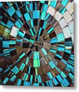 Blue Shiny Stones Gems In A Circular Pattern Metal Print