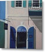 Blue Shutters In Charlotte Amalie Metal Print