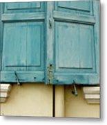 Blue Shutters Rudesheim Metal Print
