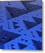 Blue Sierpinski Metal Print