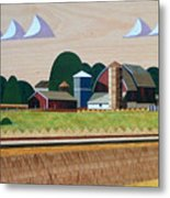 Blue Silo-marquetry-image Metal Print