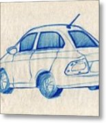 Blue Sketch Of A Car From Left Rear View With A Rear Aerial  Metal Print