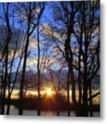 Blue Skies And Golden Sun Metal Print