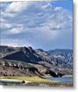 Blue Sky, Clouds With Mountain In Foreground  Metal Print