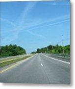 Blue Sky Empty Road Metal Print