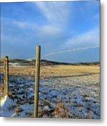 Blue Sky Fence Line Metal Print