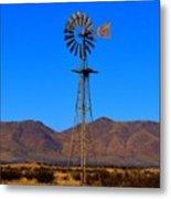 Blue Sky Windmill Metal Print