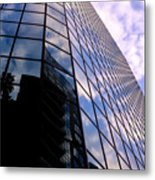 Blue Skyscrapper With A Blue Sky In New Orleans Louisiana Metal Print