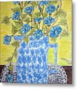 Blue Spongeware Pitcher Morning Glories Metal Print