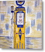 Blue Sunoco Gas Pump Metal Print