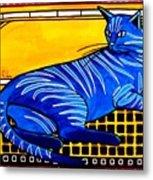 Blue Tabby - Cat Art By Dora Hathazi Mendes Metal Print