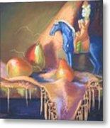Blue Tang And Pears Metal Print