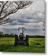 Blue Tractor Green Field Metal Print