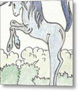 Blue Unicorn Metal Print