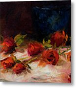 Blue Vase And Red Roses Metal Print