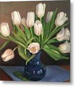 Blue Vase, White Tulips Metal Print