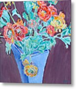 Blue Vase With Flowers Metal Print