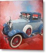 Blue Vintage Car Metal Print