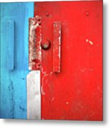 Blue Wall Red Door Metal Print