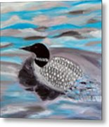 Blue Water And Loon Metal Print