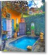 Blue Water Courtyard Metal Print