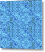 Blue Water Patchwork Metal Print