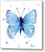 Blue Watercolor Butterfly Metal Print