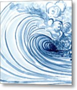 Blue Wave Modern Loose Curling Wave Metal Print