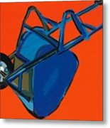 Blue Wheelbarrow Metal Print