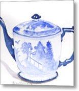 Blue Willow Teapot Metal Print