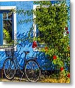 Blue Window With Bike Metal Print