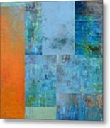 Blue With Orange 2.0 Metal Print