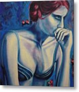 Blue Woman Thinking Metal Print
