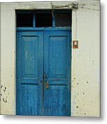 Blue Wood Door In A Building Metal Print
