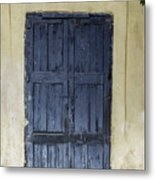 Blue Wood Door Metal Print