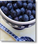 Blueberries In Polish Pottery Bowl Metal Print