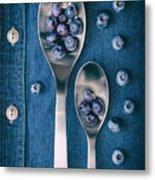 Blueberries On Denim I Metal Print