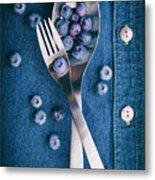 Blueberries On Denim II Metal Print