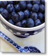Blueberries With Spoon Metal Print
