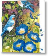 Bluebirds And Morning Glories Metal Print