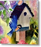 Bluebirds nesting Metal Print