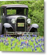 Bluebonnets And Fords Metal Print