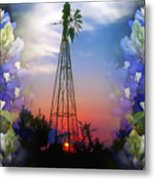 Bluebonnets And Windmill Metal Print