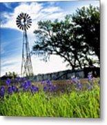 Bluebonnets With Windmill Metal Print