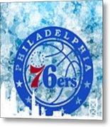 bluish backgroud for Philadelphia basket Metal Print