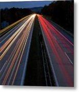 Blurred Lights Lines On Highway Metal Print