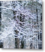 Blurred Shot Of Snow-covered Trees Metal Print