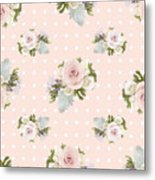 Blush Pink Floral Rose Cluster W Dot Bedding Home Decor Art Metal Print