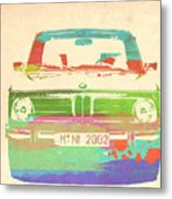 Bmw 2002 Front Watercolor 3 Metal Print by Naxart Studio