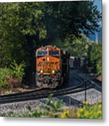 Bnsf Coming Around The Curve Metal Print